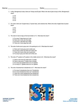 Back to School - Augmented 6th Grade Math Worksheet - Ratio and Ratio Language