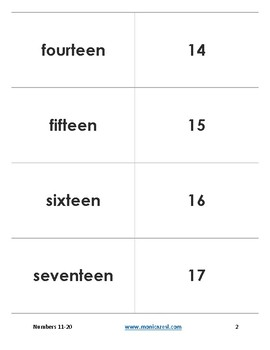 Augmented Flashcards - Numbers 11-20