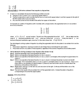 Augmented Matrices, Row Operations and Row-Echelon Form Guided Notes