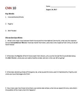 August 14 Cnn10 Daily Worksheet