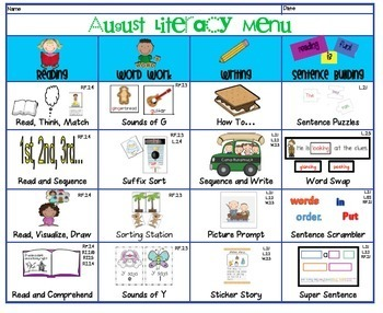 1st and 2nd August Literacy Centers