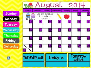 August Kindergarten ActivInspire Calendar