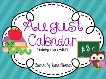 August 2016 Kindergarten ActivInspire Calendar