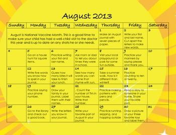 August 2013 Homework Calendar