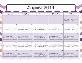 August 2014 Behavior Calendar