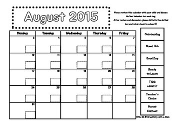 August 2015 Behavior Calendar