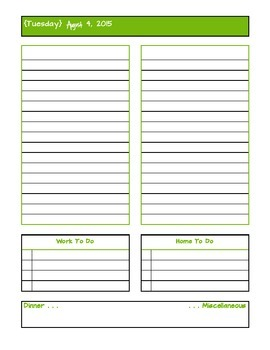 August 2015 Daily Two Prep Planner