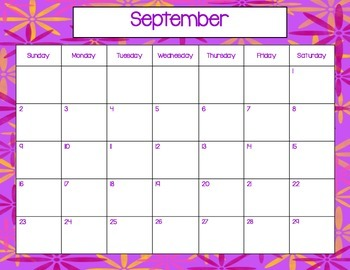 August 2015-July, 2016 Monthy Calendars (purple)
