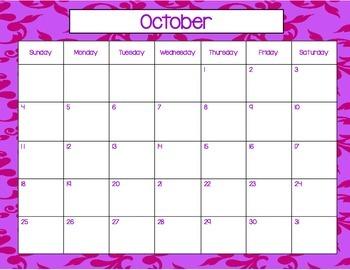 August 2015-July, 2016 Monthy Calendars (purple)