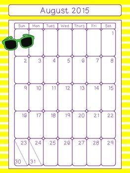 August 2015 - June 2016 Calendars