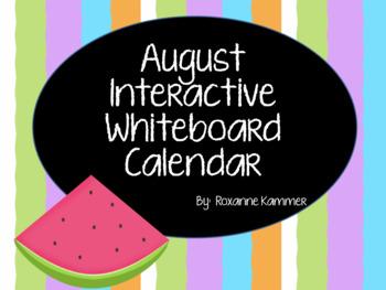 August 2017 Interactive Whiteboard Calendar