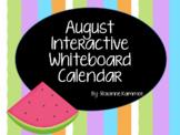 August 2018 Interactive Whiteboard Calendar