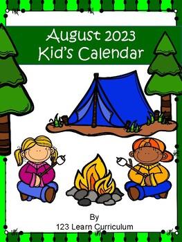 August 2017 Kids Calendar