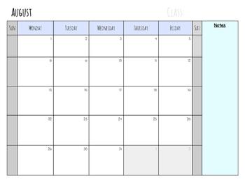 August 2016- Planning Calendar