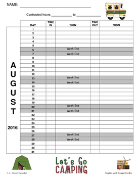 August 2016 Sign In Sheets