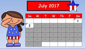 August 2016 SmartBoard Daily Calendar for First Grade