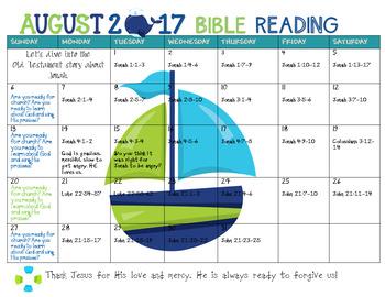 August 2017 Bible Reading Calendar