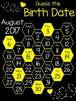 August 2017 Guess the Birth Date Calendar (Black/Yellow)
