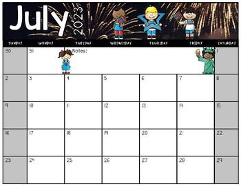July 2018 - July 2019 Horizontal Editable Calendar **Photo Real & Clip Art**