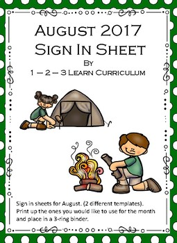 August 2017 Sign in Sheets