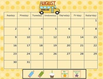 August 2018 Activboard Calendar Activities