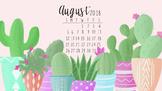 August 2018 Cactus Calendar Computer Wallpaper