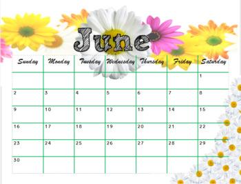 August 2018-July 2019 Calendar