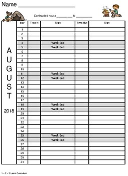 August 2018 Sign In Sheets