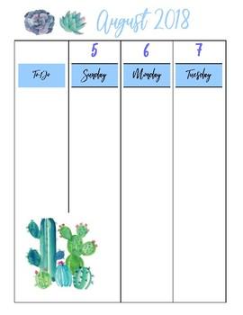 Weekly Planner - August 2018