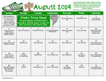 August 2019 Calendar FREE