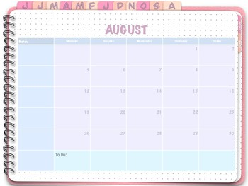 August 2019 - July 2020 (M-F) Digital Monthly Planner