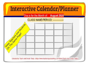August 2020 Interactive Calendar/Lesson Planner-For any Class (Google Slides)