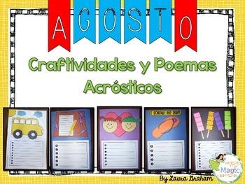 August Acrostic Poem Craftivities in Spanish