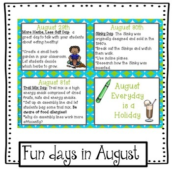 August Activities: Everyday is a Holiday