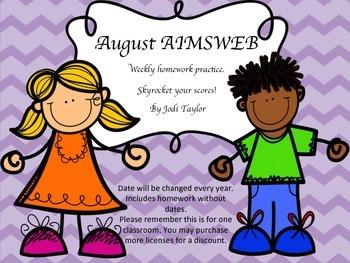 August Homework Practice for AIMSWEB or DIBELS