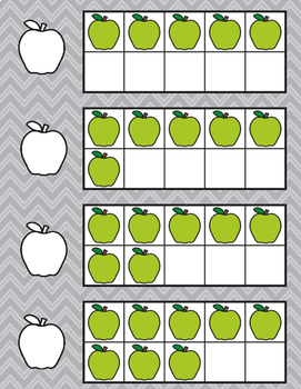 August Back to School Apple Ten Frame Subitzing Activity Kindergarten First