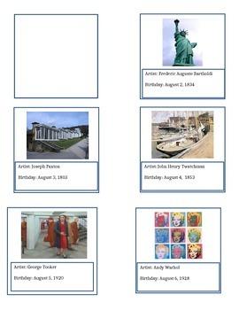 August Artists' Birthdays Calendar