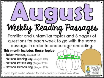 August BUNDLE of Weekly Reading Passage and Questions (4 Included)
