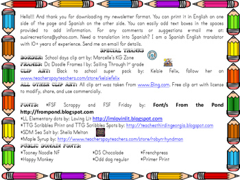 August Back to School Newsletter English and Spanish