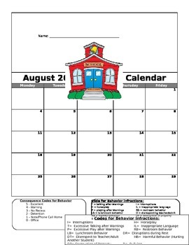 August Behavior Calendar
