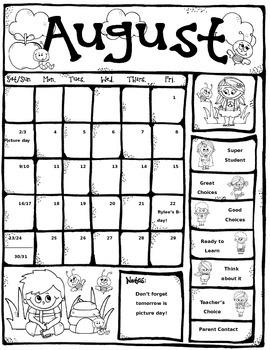 August Take Home Behavior Calendar Chart