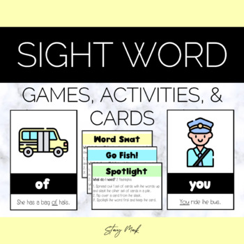 August Bus Kindergarten Sight Word Cards