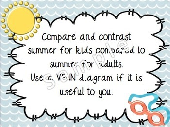 August Buzzer Packet (Bell Work-Journal) Common Core Writing Prompts