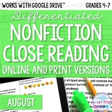August COMBO Differentiated Nonfiction Close Reading Texts and Questions