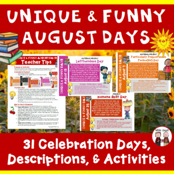 August Calendar Activities FREE