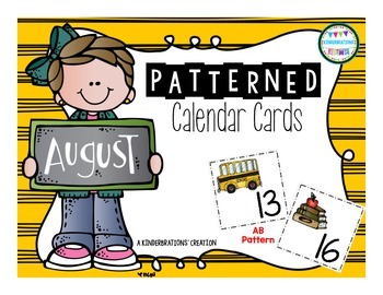 August Patterned Calendar Cards- Melonheadz Style
