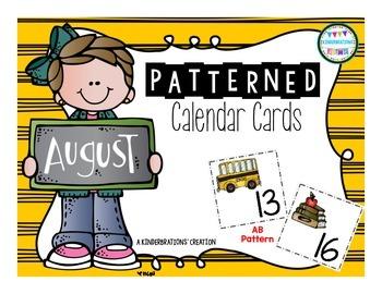 August Patterned Calendar Cards- Melonheadz Style