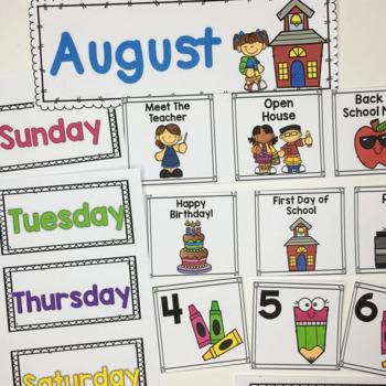 August Calendar Cards