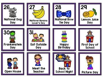 August Calendar Cards with Crazy Holidays
