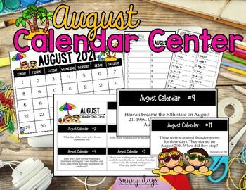 August Calendar Center Task Cards